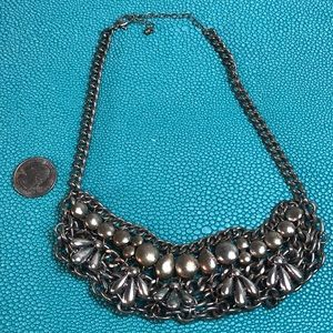 Heavy silver link choker style silver necklace.